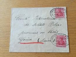 SCHW665 Deutsches Reich 1915 Brief Mit Bahnpost Lüttich - Trois Ponts Nach Genf - Lettres & Documents