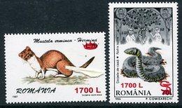 ROMANIA 2000 Surcharges On Faune MNH / **.  Michel 5465-66 - 1948-.... Republics