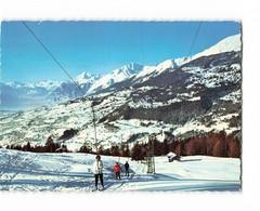 Suisse Crans Sur Sierre Le Trainer Skilift Des Melezes Et Vallée Du Rhone Tire Fesses Remontée Mecanique CPSM GF - VS Valais