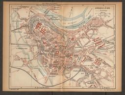 CARTE PLAN 1924 ANGOULEME - FAUBOURGS COMBE BABILLER ÉCOLE D'ARTILLERIE GENDARMERIE ILE MARQUET - Topographische Kaarten