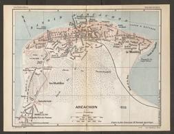 CARTE PLAN 1925 ARCACHON - LES ABATILLES SANATORIUM LE MOULLEAU MAISON Du JUGE TIR Aux PIGEONS - Topographical Maps