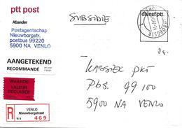 Valeur Déclarée De Venlo Sur Lettre 1987. Voir 2 Scan - Period 1980-... (Beatrix)