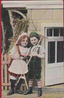 Romantiek Romance Enfants Children Amour Love Carte Fantaisie Fantasiekaart Dirndl Lederhosen German Costume Tirol - Couples