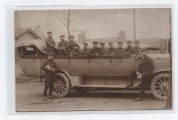 ...CPA PHOTO, BUS CAMION LA MURE CORPS LA SALETTE, Bus, Militaires WW1 Guerre - La Mure