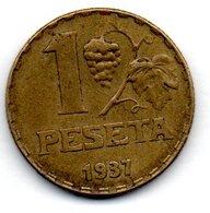 Espagne / KM 755 / 1 Peseta  1937 / TTB - Spanien