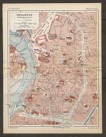 CARTE PLAN 1925 TOULOUSE CENTRE VILLE - ARSENAL CASERNES HALLE Aux BLÉS PRAIRIE Des FILTRES - Topographische Kaarten