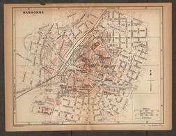 CARTE PLAN 1924 NARBONNE - MUSÉE LAPIDAIRE CASERNES MARCHÉ Aux BESTIAUX ABATTOIR - Topographical Maps