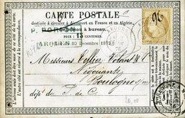 Carte Storch-Sinais N°10 Cote 2007  10€ Tarif 15c PAS DE CALAIS ARQUES 3 Juin 1876 Type 17 Pour Boulogne Sur Mer Trous - Cartoline Precursori