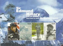 2008 Gambia Sir Edmund Hilary Mountains Everest  Miniature Sheet Of 4 MNH - Gambie (1965-...)