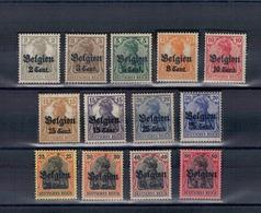 """1916 - Timbres D'Allemagne 1905-11 Avec Surcharge """"Belgien"""". Cent. Ou F. - [OC1/25] Gen.reg."""