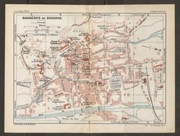 CARTE PLAN 1925 BAGNERES De BIGORRE - BAINS TIVOLI BAINS De BELLEVUE CASINO NÉO THERMES VILLA THÉAS LAITERIE - Topographische Kaarten