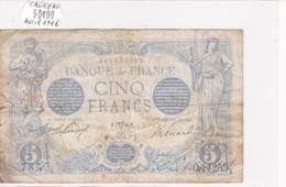 Billet De 5 Francs Bleu Du 07/04/1916 Taureau - O.11255 Alph 785 @ N° Fayette : 2.38 - 1871-1952 Circulated During XXth