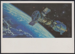 "4-847 RUSSIA 1989 POSTCARD Mint SPACE ESPACE Leonov ""SOYUZ-19"" USA ""APOLLO"" USSR - Espace"