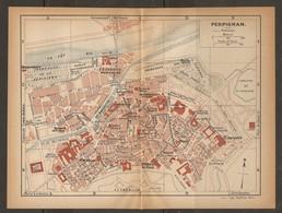 CARTE PLAN 1923 PERPIGNAN PYRENEES - MARCHÉ AUX FOURRAGE OBSERVATOIRE ARSENAL BANQUE De FRANCE - Topographische Kaarten