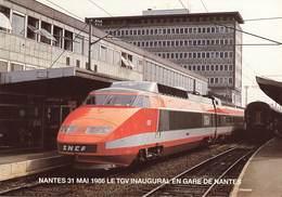 NANTES - 31 MAI 1986 - ELECTRIFICATION DE LA LIGNE NANTES ST NAZAIRE LE CROISIC - LE TGV EN GARE DE NANTES - Nantes