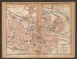 CARTE PLAN 1925 LIMOGES - GARE TDHV CHAMP De JUILLET FABRIQUE De PORCELAINE CASERNES - Topographical Maps