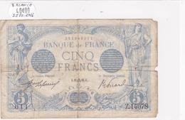 Billet De 5 Francs Bleu Du 25/09/1916 Balance - Z.14078 Alph 011 @ N° Fayette : 2.43 - 1871-1952 Circulated During XXth