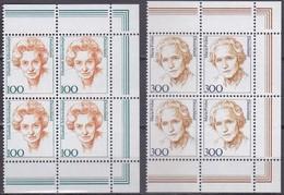 BRD, 1997,  Nr. 1955-1956 ** Frauen Der Deutschen Geschichte (XVII), 2 Viererblöcke Mit Rechtem Rand Aus Kleinbögen - Nuovi