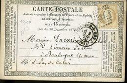 Carte Storch-Sinais N°10 Tarif 15c SOMME AMIENS1 Juil 1876 Type 17 + GC 85  Pour Boulogne Sur Mer - Ganzsachen