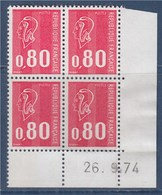 = Marianne De Béquet 0.80fr Rouge N°1816 Coin Daté X4 Le 26.9.74 - Dated Corners