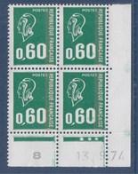= Marianne De Béquet 0.60fr Vert Typographié N°1814 Coin Daté X4 Le 13.9.74 Et 8 - Dated Corners