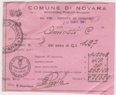 8808.   Comune Di Novara - Ricevuta Pubblico Macello - Imposte Di Consumo - 1947 - Italia
