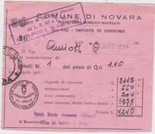 8809.   Comune Di Novara - Ricevuta Pubblico Macello - Imposte Di Consumo - 1948 - Italia