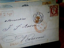 """80c Rose Empire Dentelé - Oblitéré """"Etoile 1"""" Lettre PARIS X VARSOVIE   HK4722 - 1862 Napoléon III"""