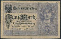 Darlehenskassenschein 1917 - 5 Mark - Circulated - [ 2] 1871-1918 : Impero Tedesco
