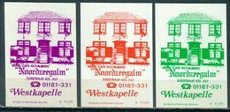 3 Alte Zündholzschachteletiketten, Hotel Noordzeegalm, Zuidstraat 105-107, Westkapelle, Holland Mit Nr.: Z 6492 - Luciferdozen - Etiketten