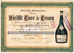 Titre Ancien - Société Anonyme De La Vieille Cure De Cenon - Titre De 1921 - Bouteille à Droite - Annulé - Industrie