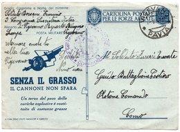 """CT-03356-CARTOLINA POSTALE PER LE FORZE ARMATE """"SENZA IL GRASSO IL CANNONE NON SPARA-VIAGGIATA 2-8-1943 - 1900-44 Vittorio Emanuele III"""