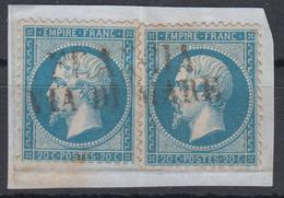 YT 22 X2  Ob FRANCIA VIA DI MARE Complète Petit Fragment - 1849-1876: Klassieke Periode