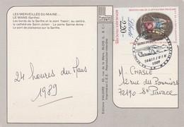 LE MANS : T. à D. Illustré De La 57ème édition Des 24 Heures - 10 & 11 Juin 1989. (superbe). - Postmark Collection (Covers)