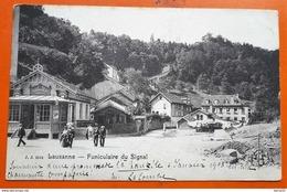 CPA - SUISSE - Lausanne - Funiculaire Du Signal (animée: Personnages...) - VD Vaud