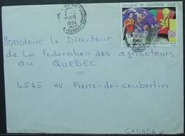 Cameroon - Cover To Canada 1994 Soccer World Cup FIFA Map 450F Solo - 1994 – Estados Unidos