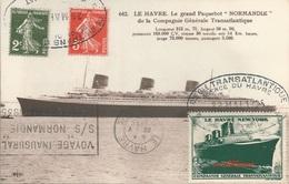 Carte Postale Paquebot NORMANDIE - Oblitération Et Cachets Voyage Inaugural Le Havre - New York - Départ 29 Mai 1935 - Passagiersschepen