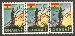 GHANA. 1d X3. USED JUMAPO POSTMARK - Ghana (1957-...)