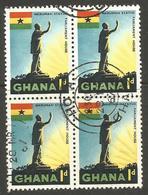 GHANA. 1d BLOCK OF FOUR. USED HO A POSTMARK - Ghana (1957-...)