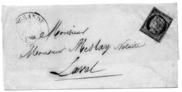 N°4 Oblitération Grille (touché)INGRANDE (47)L.S.C. 7/12/50 (ind. 17) - Marcophilie (Lettres)