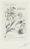 Nieuwjaarskaart 1958 Hans Van Der Horst (gesigneerde Ets) - Prenten & Gravure