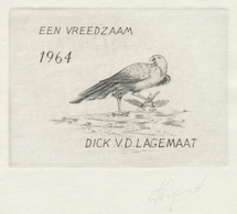 Nieuwjaarskaart 1964 Dick V.D. Lagemaat - Hans Van Der Horst (gesigneerde Ets) - Prenten & Gravure