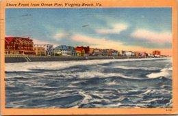 Virginia Virginia Beach Shore Front From Ocean Pier 1953 - Virginia Beach