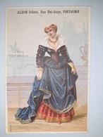 """Chromo Publicitaire """" ALZON  Frères , Rue Bel-Ange à PARTHENAY """" /  LA  MODE  SOUS  HENRI  IV  ( Femme ) /  Vers  1880 - Non Classés"""