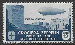 Italy Aegean Islands  1933  Sc#C21  5Lire  Zeppelin Air MLH   2016 Scott Value $95 - Aegean