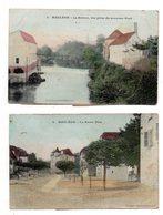 Mauleon-Licharre. La Haute Ville.Le Saison.2 CP Colorisées.Cachet Ambulant Mauleon A Aramits.1906. - Mauleon Licharre