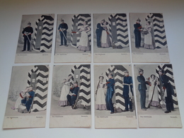 Beau Lot De 8 Cartes Postales De Fantaisie  Soldat Allemand   Mooi Lot Van 8 Postkaarten Fantasie  Duitse Soldaat - 5 - 99 Postkaarten