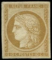 * EMISSION DE 1849 - 1    10c. Bistre-jaune, Grande Fraîcheur, TB. C Et Br - 1849-1850 Ceres