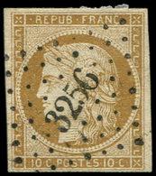 EMISSION DE 1849 - 1    10c. Bistre-jaune, Oblitéré PC 3256, Frappe Superbe - 1849-1850 Ceres
