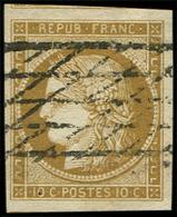 EMISSION DE 1849 - 1    10c. Bistre-jaune, Marges énormes, Obl. GRILLE SANS FIN, Superbe - 1849-1850 Ceres